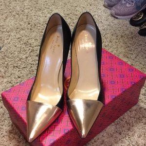 💖 Kate Spade rose gold black heels GORGEOUS Sz 8